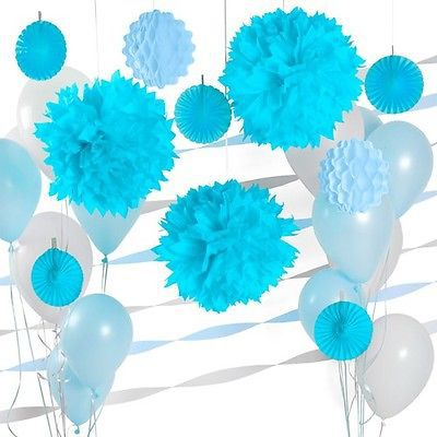 Boy baby shower baptism decoration kits kids 1st birthday wedding boy baby shower baptism decoration kits kids 1st birthday wedding decoration paper pom poms fans baby junglespirit Images