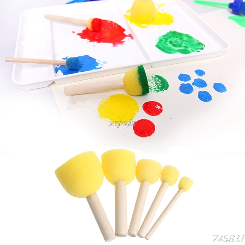 Round Sponge Brush With Wood Handle Art Graffiti Painting Tool Toy Children 5Pcs Drop Ship
