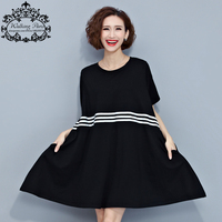 Women Summer Dress Plus Size Cotton Casual Tops Tees Black And White Striped Female Loose Fashion