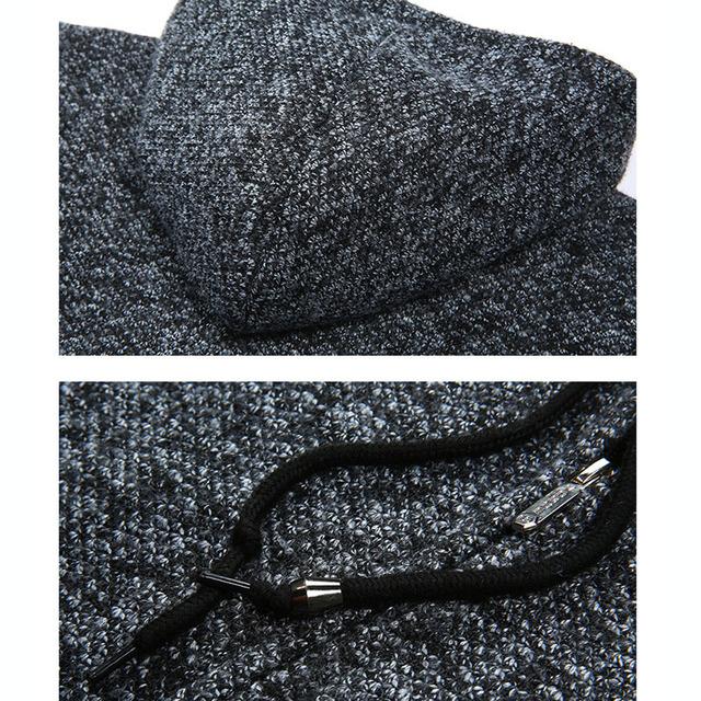 2018 LetsKeep Winter mens sweater coat men fleece warm long cardigan Hooded Knitted Sweaters sweatercoat Plus size 3XL , MA526