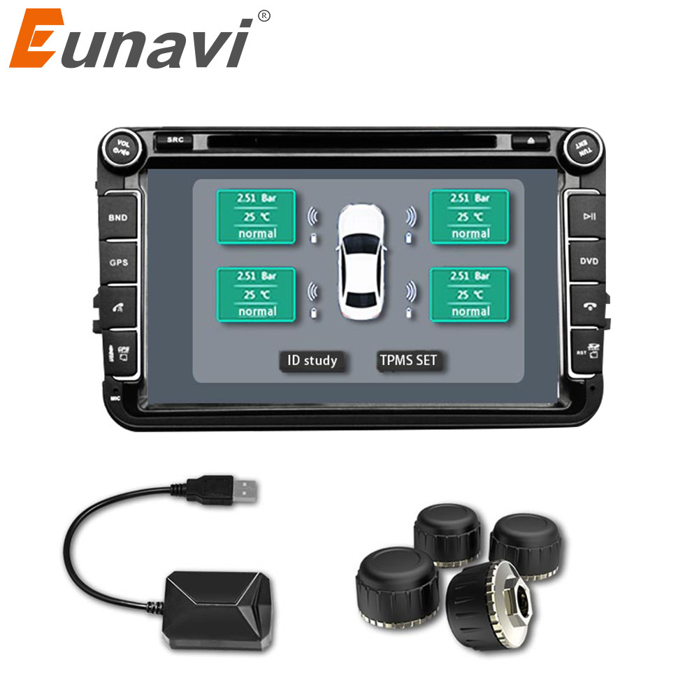 Eunavi Car TPMS Universal Android Tire Pressure Monitoring System for OS DVD Player USB Interface internal extra for all cars car tpms bluetooth tire pressure monitoring system app display support android and apple systems for peugeot toyota and all cars