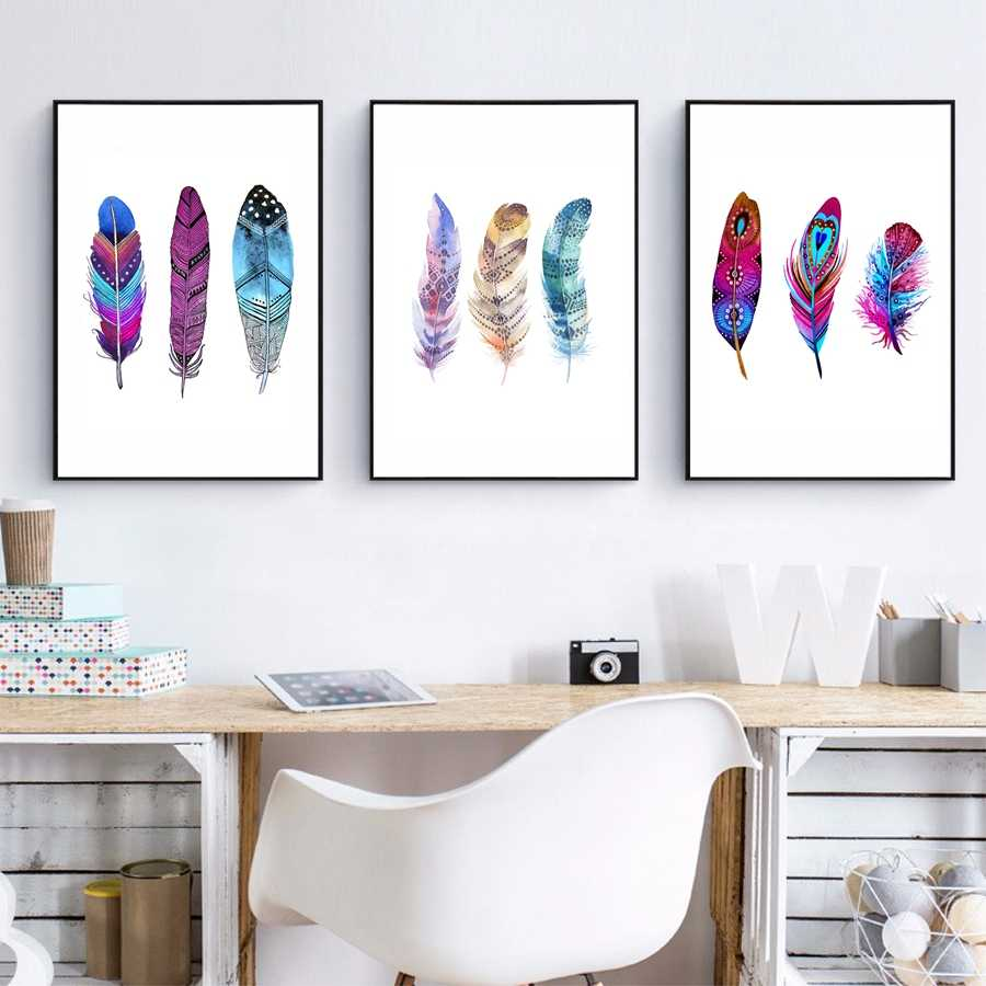 Watercolor Colorful Feather Canvas Art Print Poster , Hand Drawn Feathers Native Painting Wall Pictures For Home Decoration