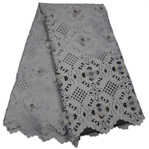 Image 4 - Free shipping (5yards/pc) high quality white African laser cut lace fabric with 3D flowers and beads for party dress CLP223