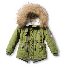 2016 New Real Thick Winter Children Jackets Coats Hooded Faux Fur Collar Kids Outerwear Cotton Padded Baby Girl Boy Snowsuit