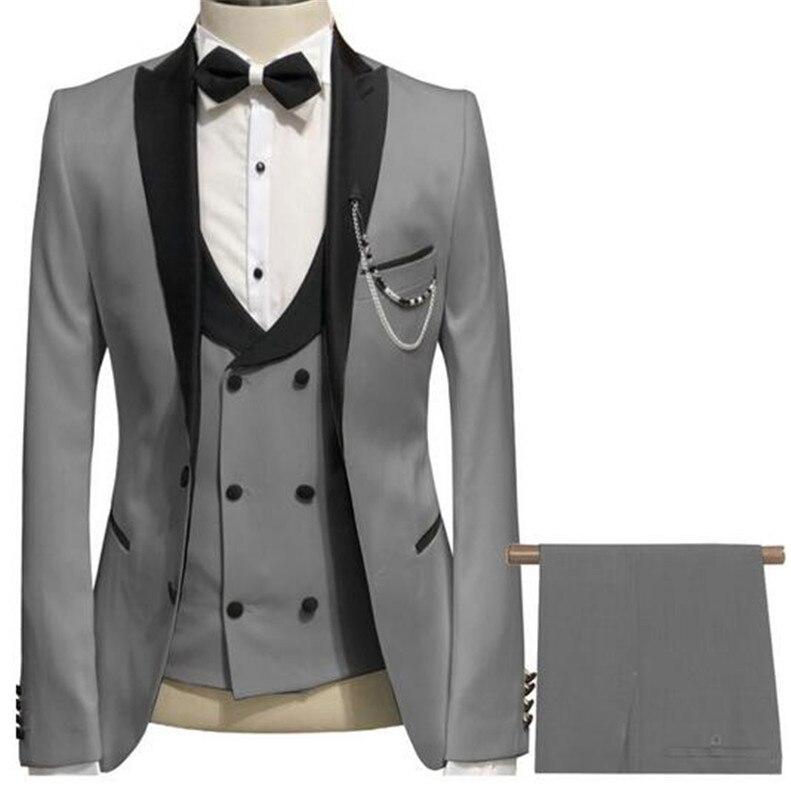 Mannen Pakken 3 Pieces Slim Fit Pakken Bruidegom Champagne Noble Grijs Wit Smoking Voor Formele Bruiloft Pak (Blazer + Broek + Vest) - 2