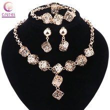 Women Jewelry Sets Wedding Fashion Gold Color African Beads Vintage Party Statement Big Necklace Earring Accessories