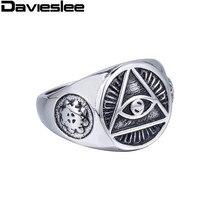 Mens Illuminati The All-seeing-eye illunati pyramid/eye symbol Silver Tone Gold Plated 316L Stainless steel Signet Ring LHR365