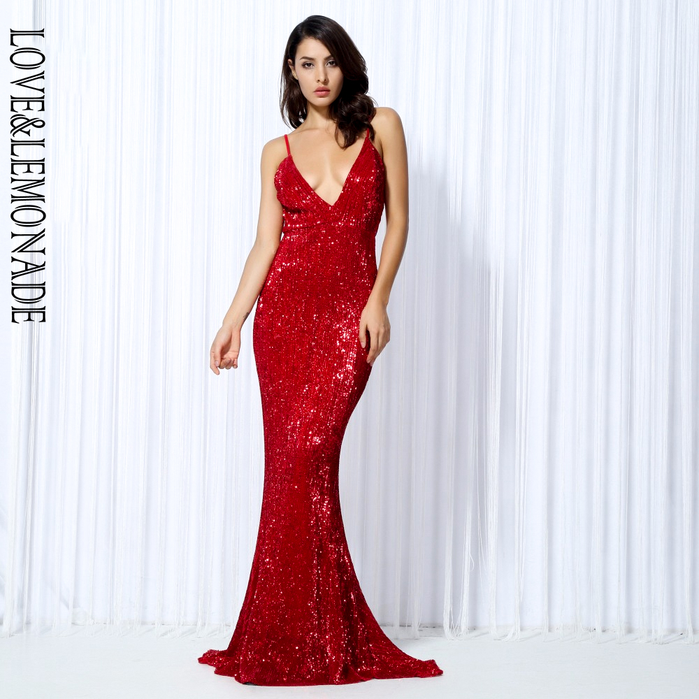 Love Lemonade Red Elastic Sequin Exposed Back Long Dress LM0055