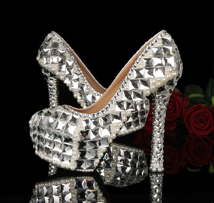 New Sparkling Handmade Dress Shoes High Heel Crystal Rhinestone Shoes for Bride Bridal Wedding Shoes Banquet Evening Party Shoes aidocrystal 2016 royal blue wedding rhinestone shoes evening crystal high heel diamond studded heels pure handmade pumps new