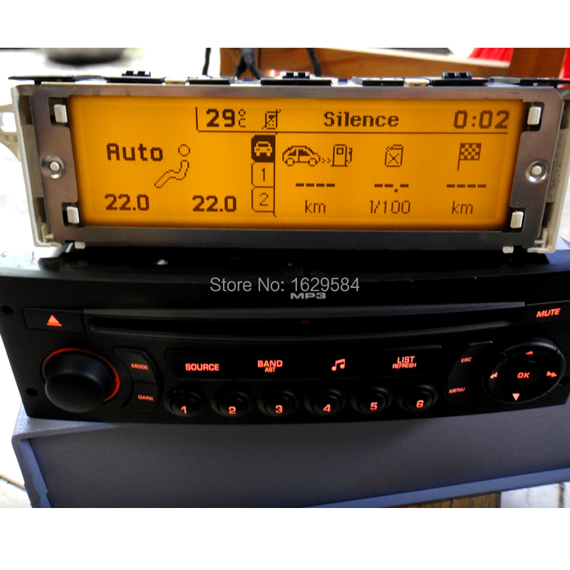 Original Car Auto Support USB Bluetooth Display yellow Lcd monitor 12 pin for Peugeot 307 407