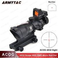 Тактический Trijicon Airsoft ACOG 4X32 Зрение Настоящее Красный волокна Источник красной подсветкой прицел с RMR Micro красный dot для охоты