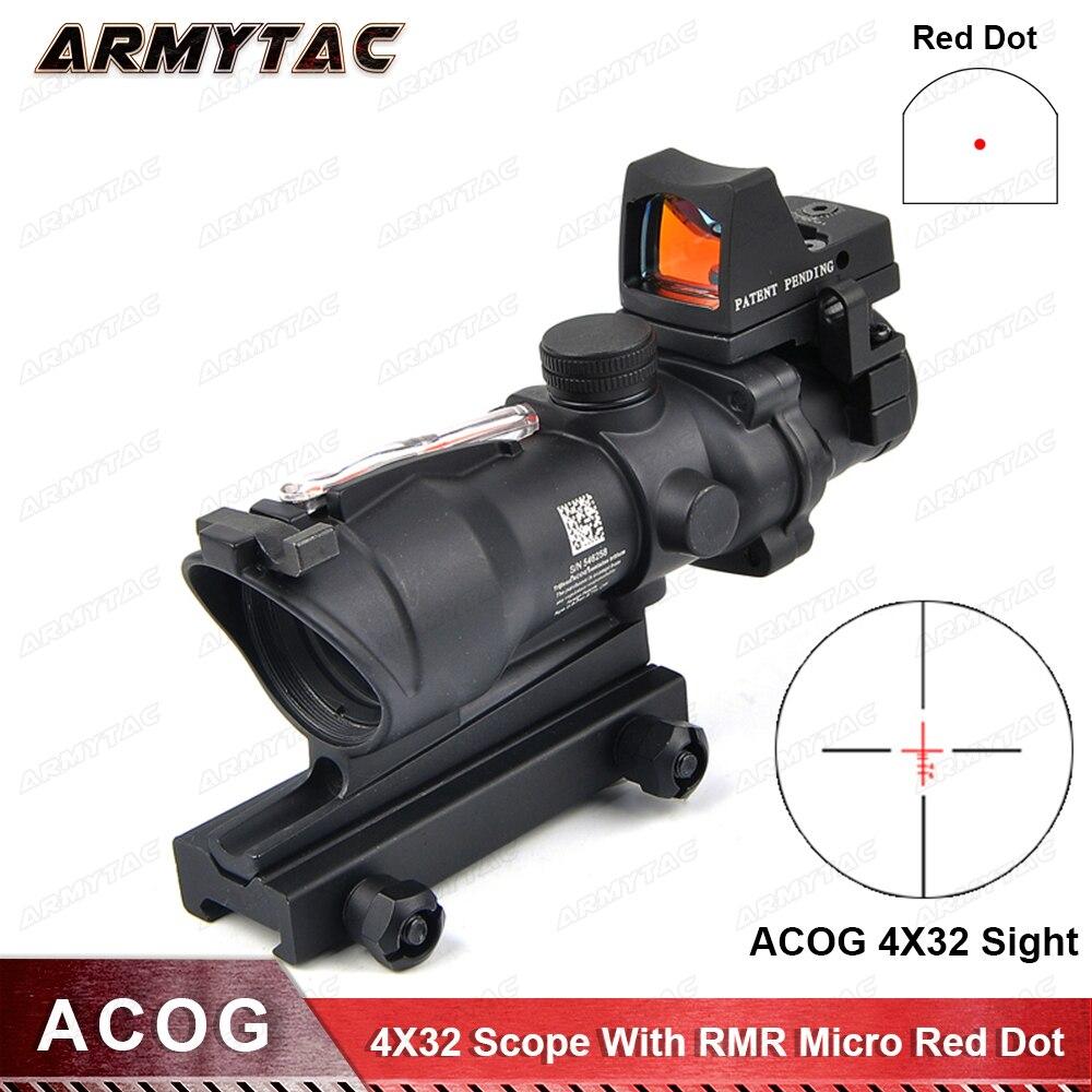 Tactique Trijicon Airsoft ACOG 4X32 vue vraie Source de Fiber rouge rouge portée de fusil éclairée avec RMR Micro point rouge pour la chasse
