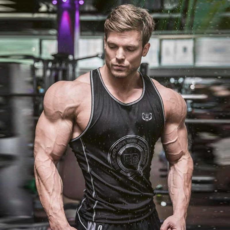 2019 marka odzież gimnastyczna sportowa podkoszulek kulturystyka Stringer Tank Top mężczyźni koszulka treningowa mięśni kamizelka bez rękawów Tanktop