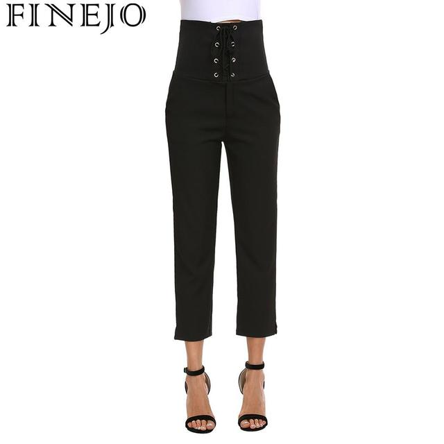 FINEJO Pencil Pants Autumn 2018 Casual Lace Up High Waist Solid Slim Fit Women Ankle