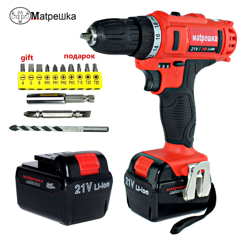 21V Power Tools Mini Electric Screwdriver Lithium Battery Rechargeable Drill Multifunction Double Speed Electric Drill voto universal 21v max li ion lithium rechargeable battery with flat push type for electric drill electric screwdriver