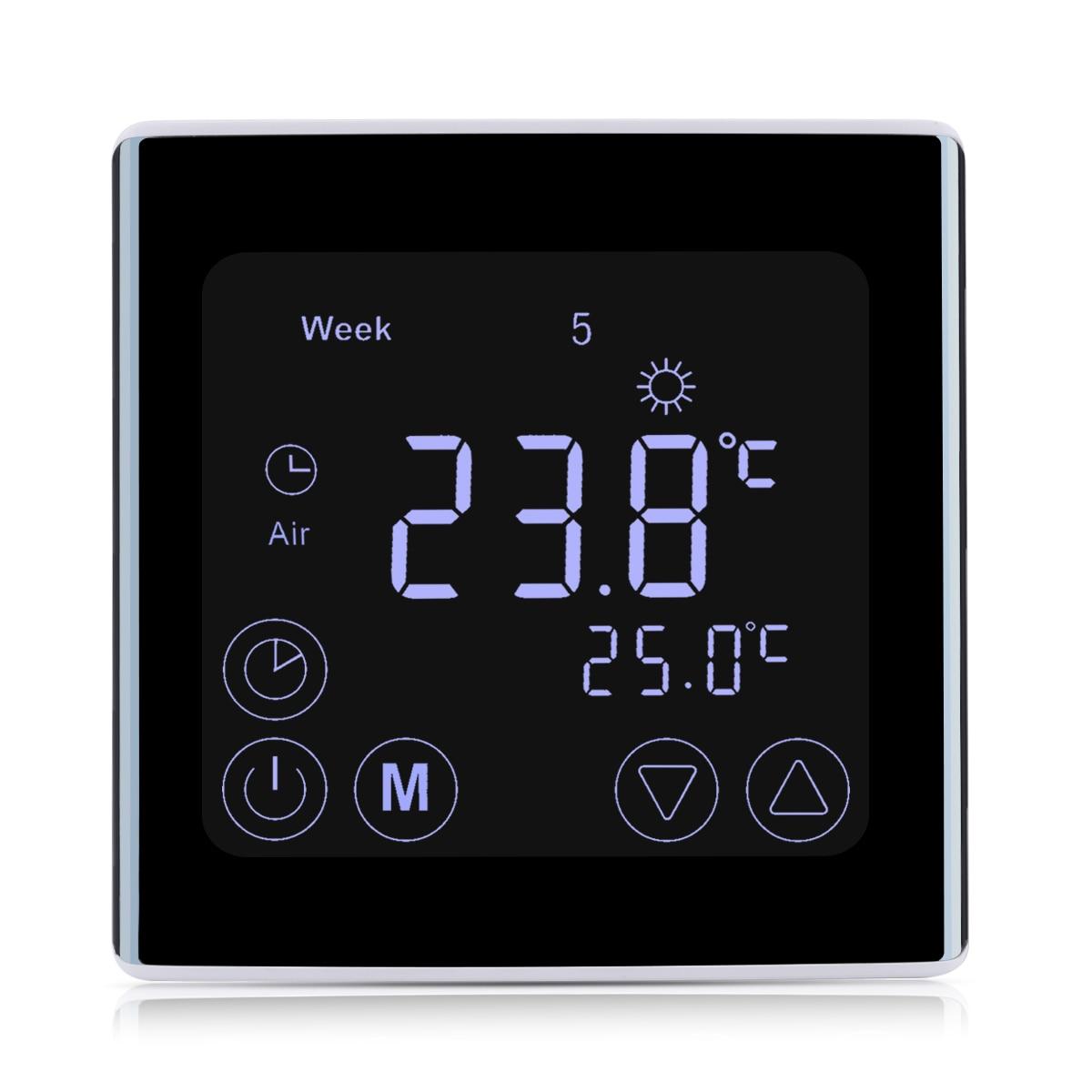 New Weekly Radiante Sala de Aquecimento Termostato Casa Inteligente da Tela de Toque LCD Controlador de Temperatura Termostato LED Backlight Branco