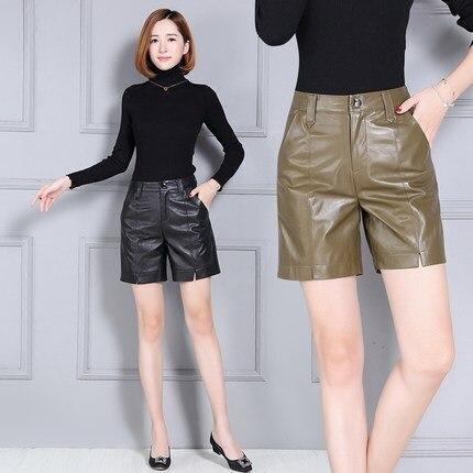 2019 High Waist Leather Small Wide Leg Shorts K12