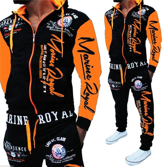 ZOGAA hommes correspondant ensemble deux pièces ensemble hommes survêtement décontracté sweat à capuche de sport sweat et pantalon ensembles lettre imprimé survêtement 2