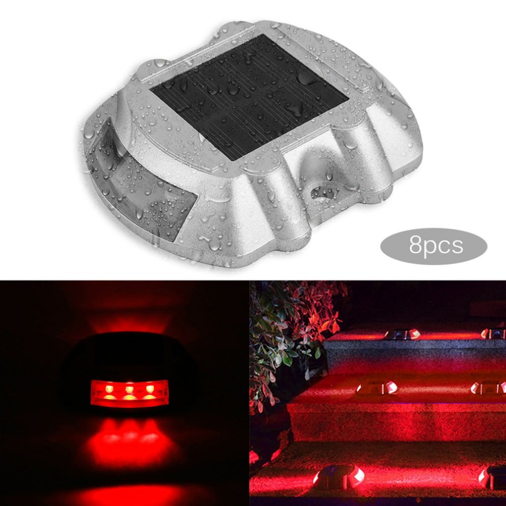 8 pièces solaire Rechargeable LED solaire ampoule extérieure Camping randonnée jardin lampe 6 rouge LED s voie allée sécurité lumières