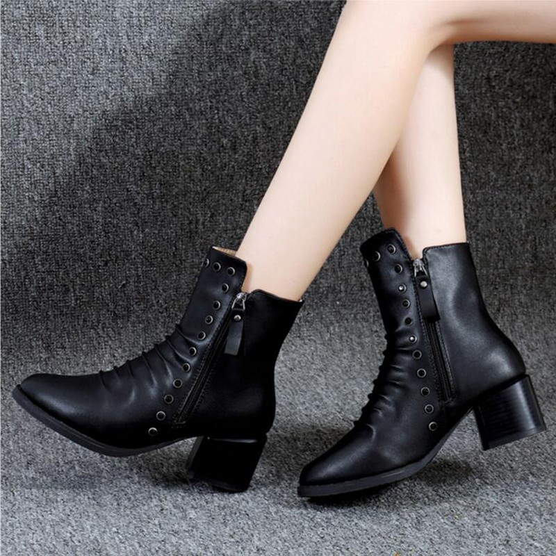 COOTELILI  Women Boots Ankle Boots 2018 Winter Shoes 5.5cm High Heels Diamond Shoes Rubber Boots Woman Round Toe Pumps 35-39 (8)