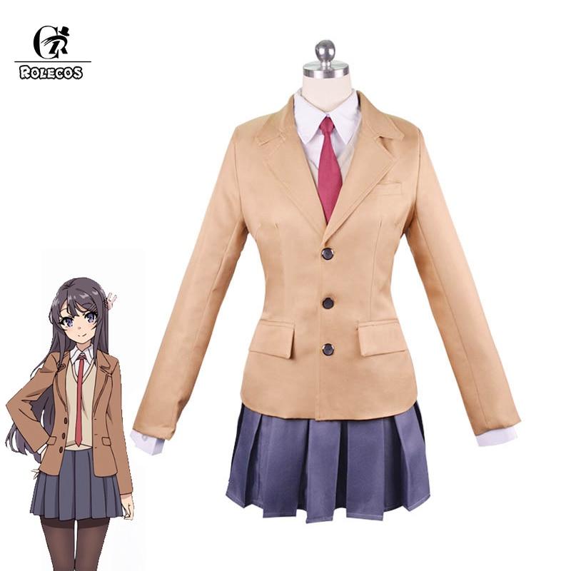 ROLECOS Seishun Buta Yarou wa Bunny Girl Senpai no Yume wo Minai Cosplay Costume Mai Sakurajima Cosplay Costume School Uniform