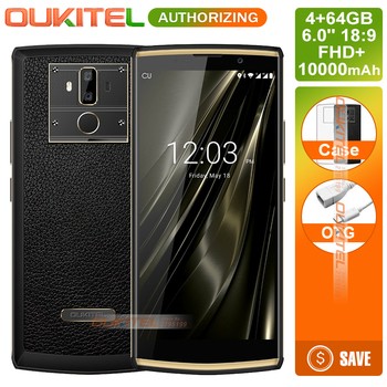 Oukitel K7 10000mAh 9V2A Android 8.1 Smartphone 18:9 6.0'' FHD+ 4GB+64GB MT6750T Octa Core 13MP Rear Dual Camera 4G Cellphone