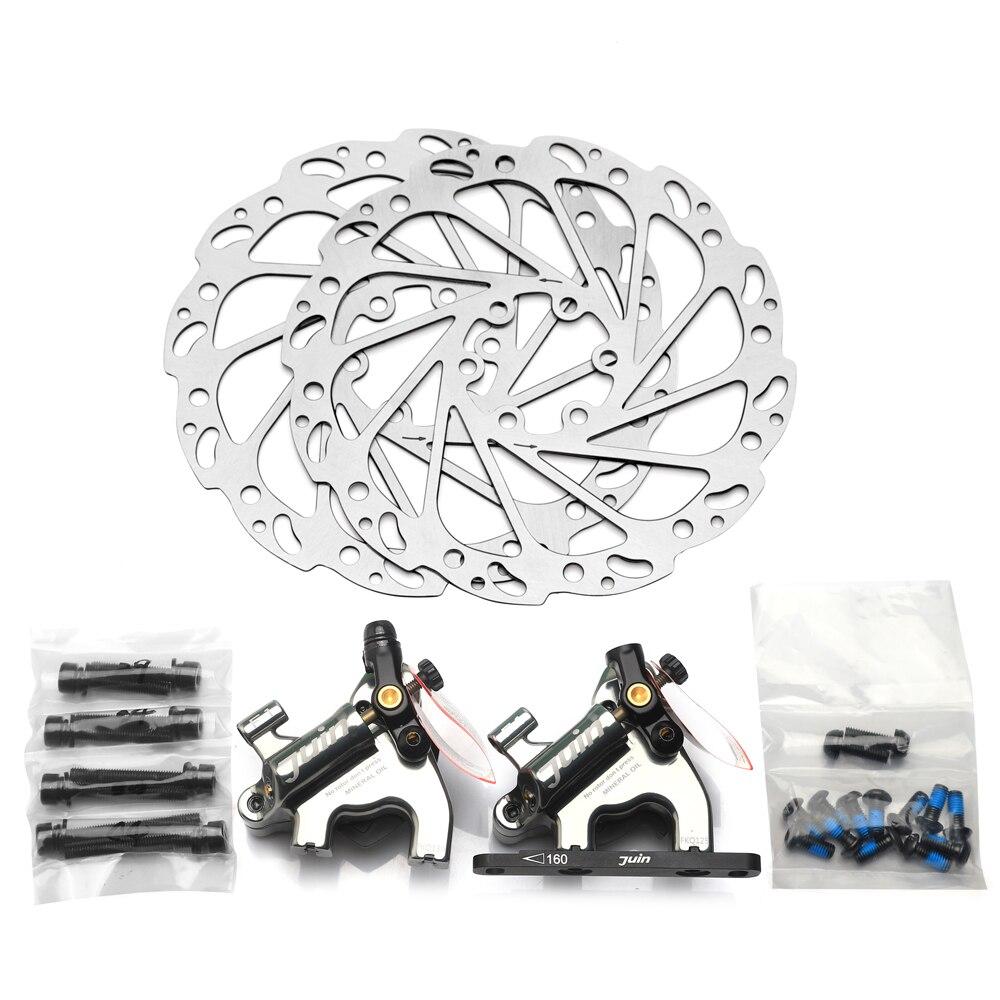 Juin Tech F1 vélo disque étrier de frein ligne de traction hydraulique freins ensemble VTT XC route vtt de frein rotors 160mm plat montage - 5