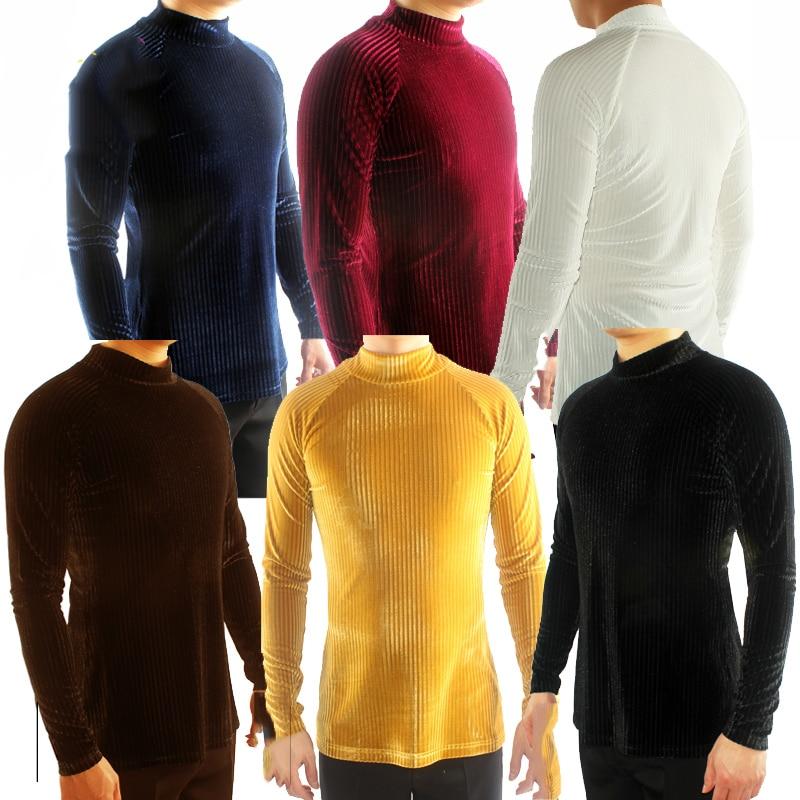 Ballroom Shirt Men Latin Dance Shirts Long Sleeve Velvet High Collar Practice Dancing Clothes Salsa Waltz Modern Tango DN1321
