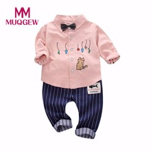 MUQGEW 2017 Baby Clothes Set 2Pcs Toddler Baby Boys spring Autumn Cloth Stripe Cat Print Tops +Pants Outfits Clothes Set(China)