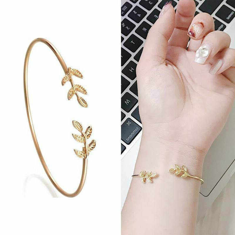 2019 New Leaves Opening Alloy Wrap Bracelets for Women Gold Silver Color Bracelets Female Jewelry