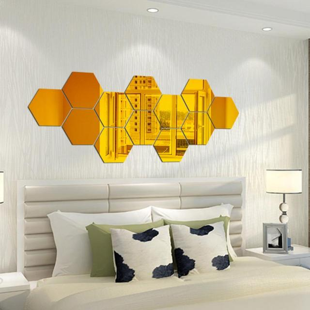 Golden Hexagon Mirror Wall Stickers Household Wall Decor Removable