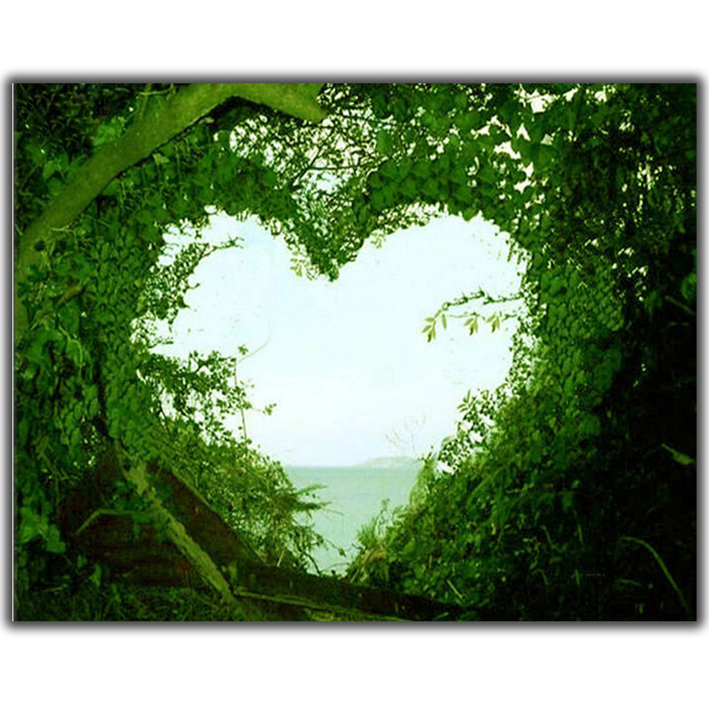 Diy Diamond Painting Cross Stitch Heart Shaped Green Vines Needlework Diamond Embroidery Full Round Mosaic Decoration Resin Kits in Diamond Painting Cross Stitch from Home Garden