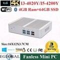 2015 Fanless Mini PC Windows 10 4 GB de Ram 64 GB SSD Intel Nuc Core i3 i3 5005U 4005U HTPC Kodi Linux Computador 300 M Wifi HDMI + VGA