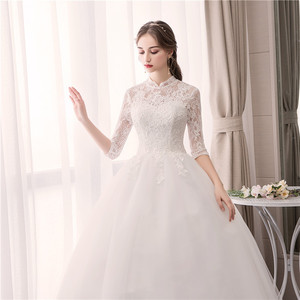 Image 2 - EZKUNTZA Lace High Neck 2019 New Wedding Dress Fashion Slim Embroidery Backless Plus Size Custom Made Bride Gown Robe De Mariee