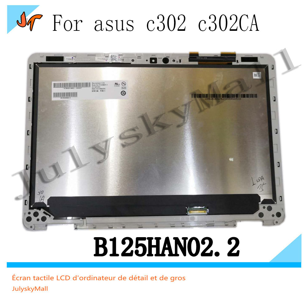 Original 12 5 touch screen LCD with frame 1920 X 1080 resolution for ASUS Chromebook flip