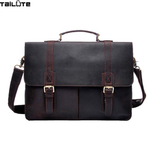 TAILUTE Crazy Horse Leather Men's Briefcase Laptop Bag Business Bag Genuine Leather Briefcase Men Shoulder Bag Crossbody bag