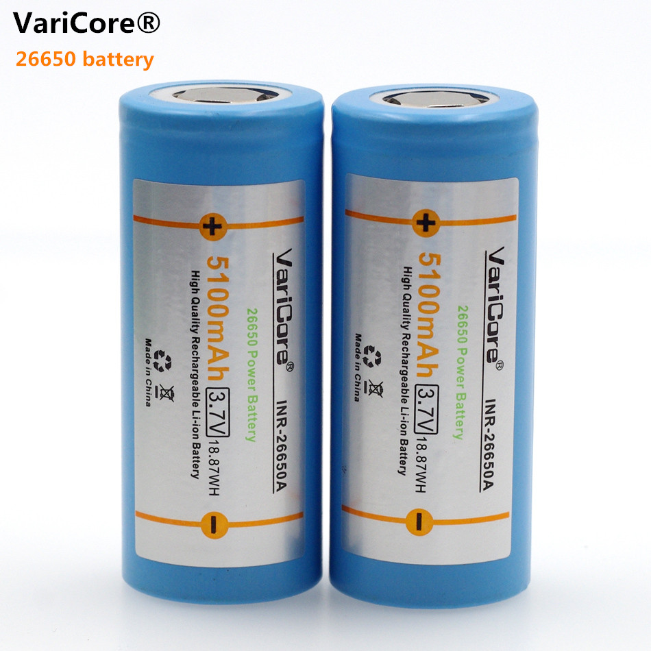 VariCore 26650 lithium battery, 3.7 V 5100 mAh, 26650 rechargeable battery, 26650-50A suitable for flashlight, image