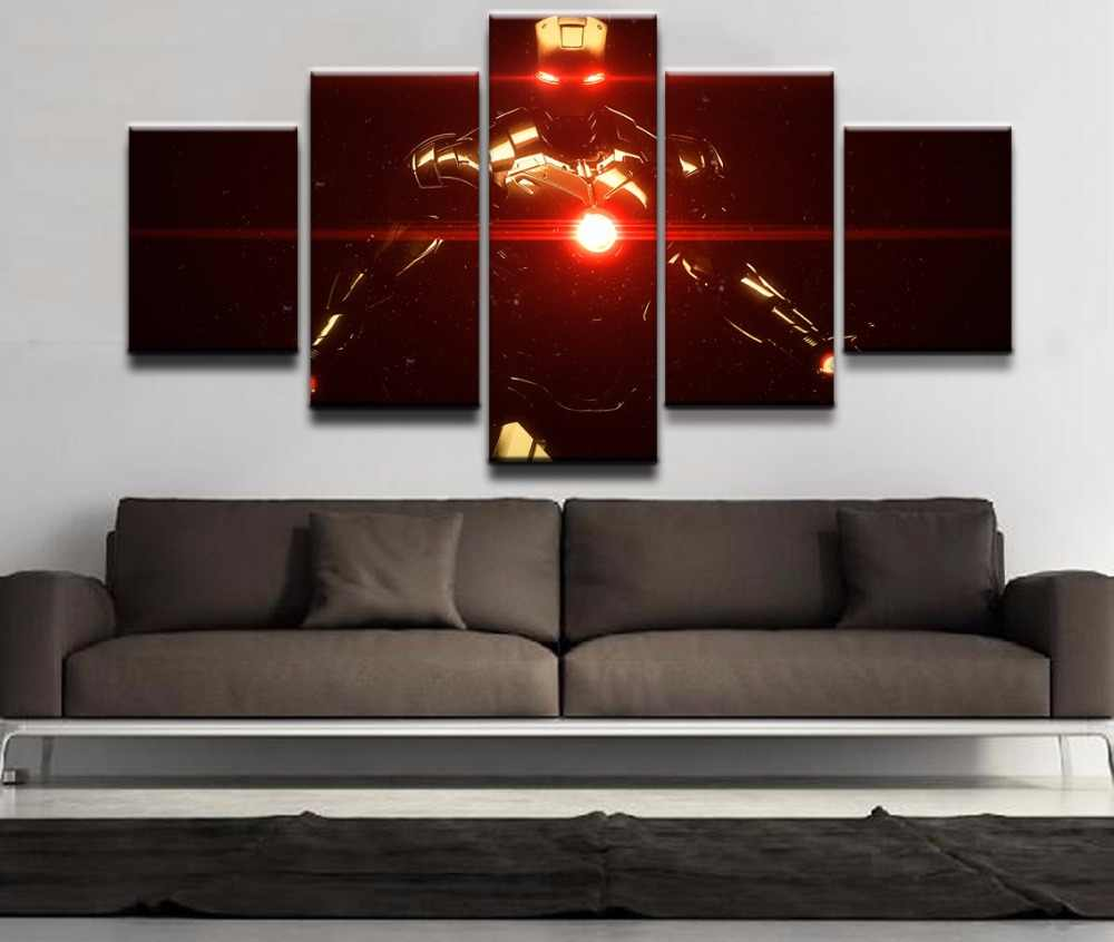Modern The Dark Knight  Movie Poster HD Printed Wall Art Home Decor For Living Room Pictures 5 Pieces Iron Man Canvas Painting