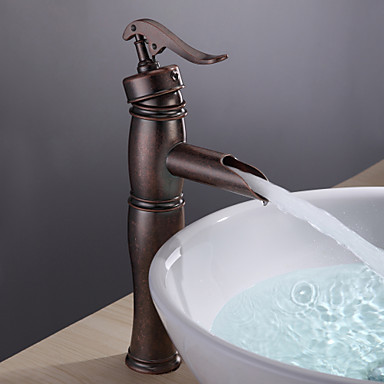 Bathroom Sink Faucet with Vintage Antique Copper Finish Single Handle Brass Faucets Torneira Para De Banheiro Robinet bathroom sink faucet in vintage antique brass finish water waterfall tap for bathroom torneira para de banheiro misturador