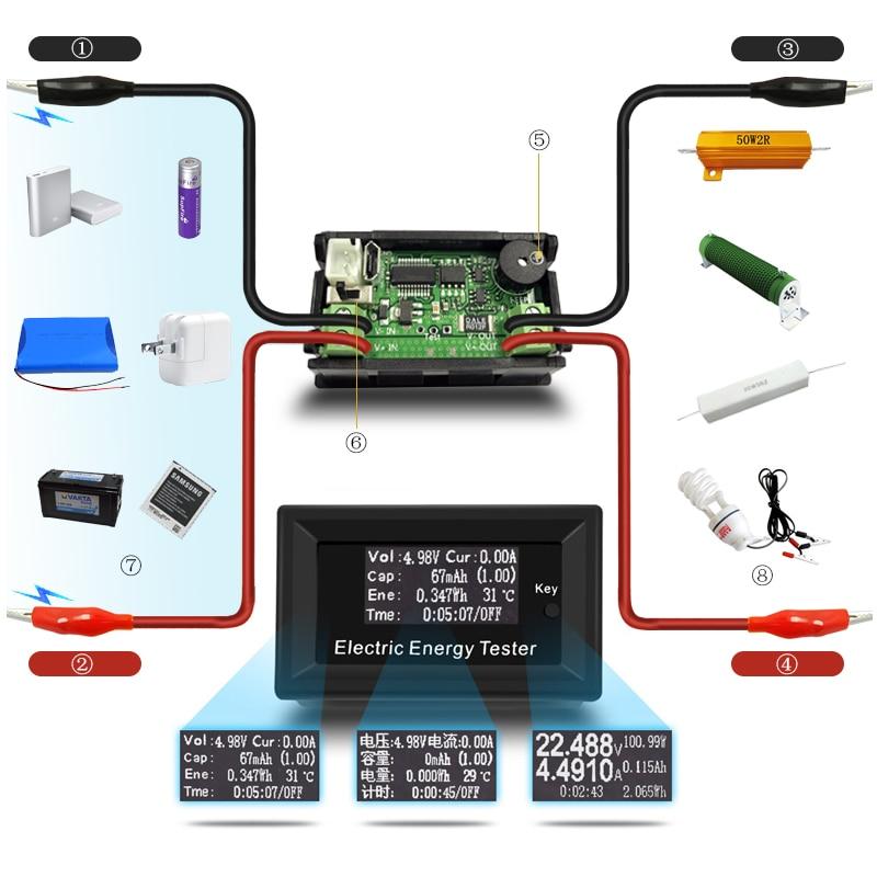 100 V 15A Numérique DC Voltmètre Courant Tension Mètres LCD D'énergie testeur Chargeur batterie ampèremètre alimentation capacité détection