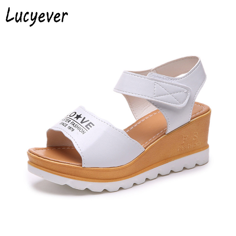 Lucyever 2018 Wedges Sandals Women Flat Platform Summer Shoes Woman Heels Peep Toe Buckle Strap Casual Sandals Black White xiaying smile woman sandals shoes women pumps summer casual platform wedges heels sennit buckle strap rubber sole women shoes