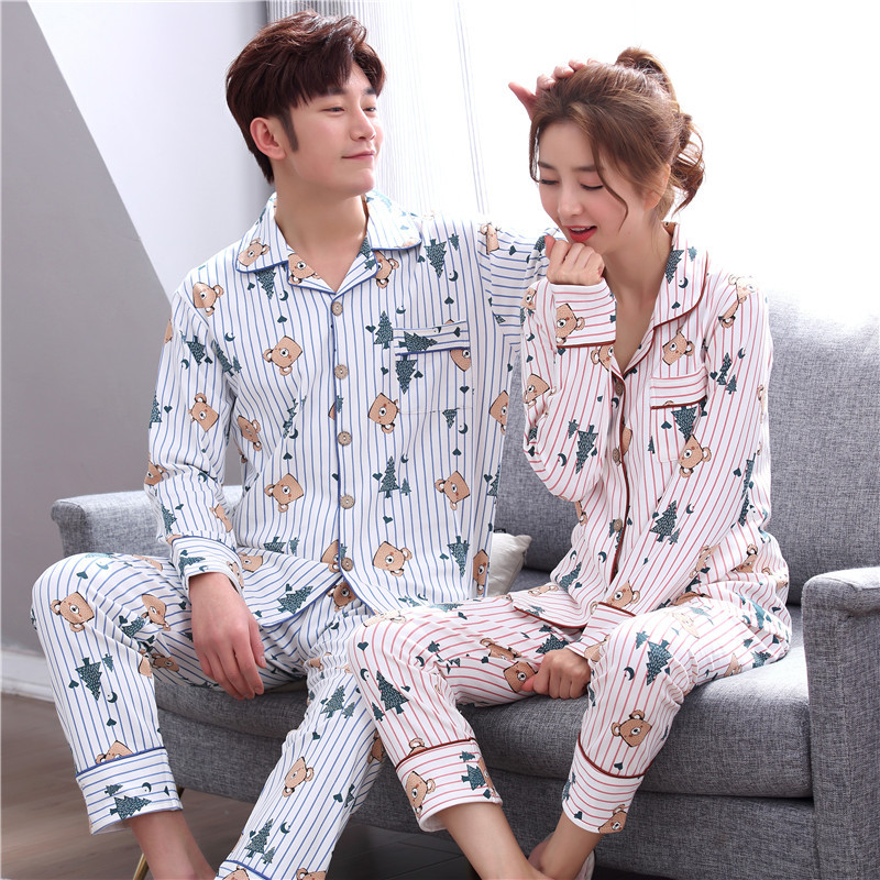 Autumn and winter couple pajamas cotton long-sleeved stripes sweet cute loose comfortable cardigan warm home service suit