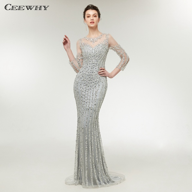 CEEWHY Dubai Nude Slim Mermaid Evening Dress Long Sleeve Luxury Evening  Dresses Beaded Rhinestone Formal Evening Gown 0ac15629d05c