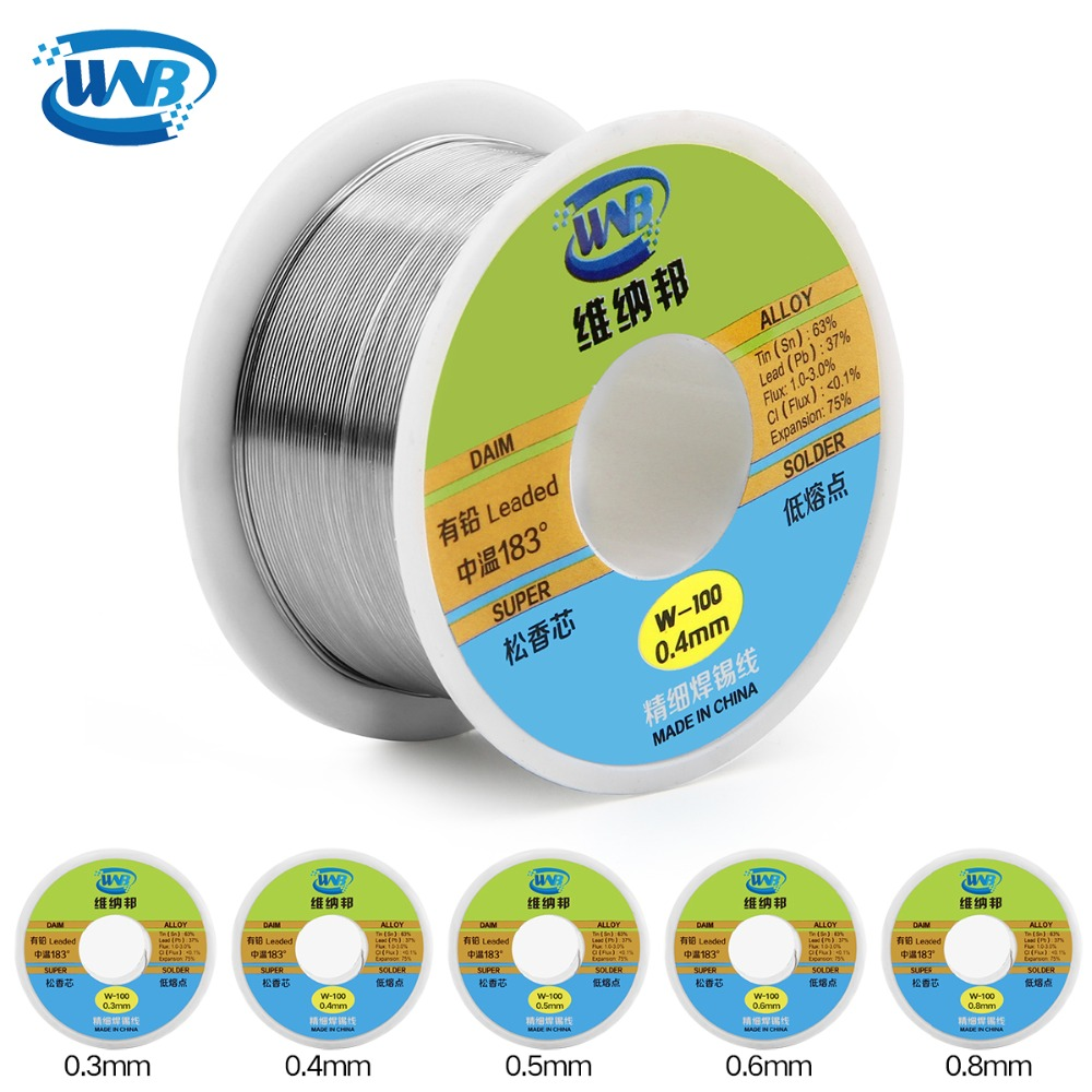 WNB New 90g 0.3/0.4/0.5/0.6/0.8mm 63/37 Rosin Core Tin Lead 183 Degree Melt Silver Solder Wire Welding Flux 2.0% Iron Cable Reel