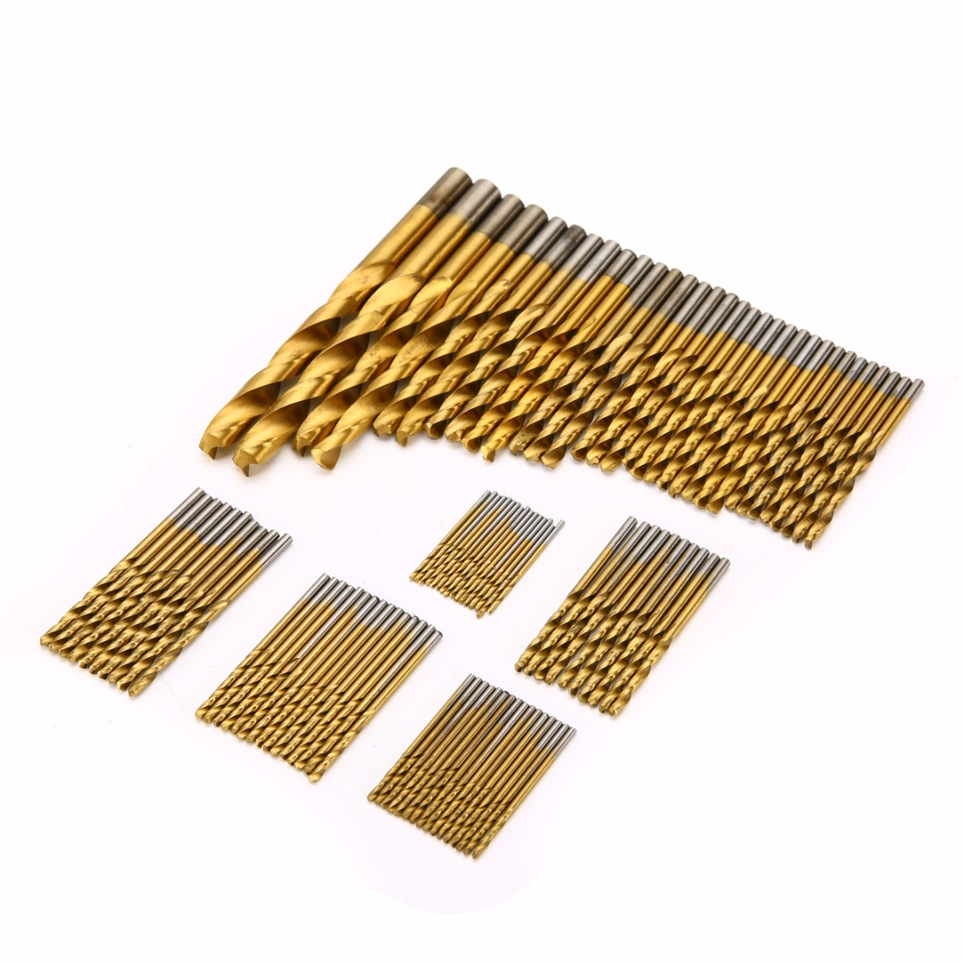 Mayitr 99pcs Titanium Coated Drill Bits HSS High Speed Steel Twist Drill Bit Set 1.5mm-10mm For Power Tools 10pcs 0 7mm twist drill bits hss high speed steel drill bit set micro straight shank wood drilling tools for electric drills