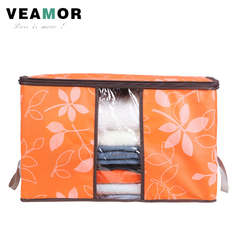 Flowers Printed Non-woven Quilts Storage Boxes for home Organization Plus Size Finishing Storage Boxes with Windows Bags B033