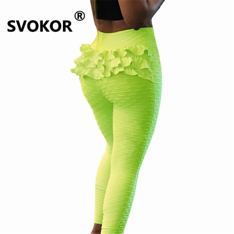 SVOKOR Solid High Waist Leggings Women Clothing Sexy Lace Up Pants Female Summer Breathable Workout Leggins