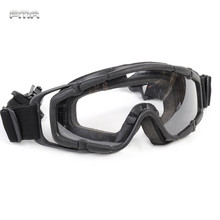 FMA Tactical Ballistic Goggle Glasses 2pcs of Lens for Helmet with Side Rails Outdoor Sports Camping Hiking Eyewear Black TB423