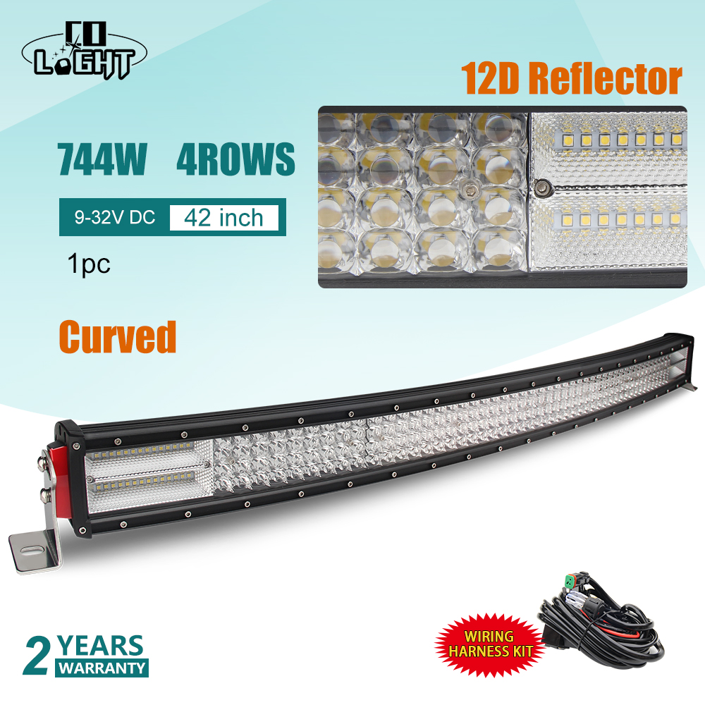 CO LUCE 42 inch LED Bar 12D 744 W-Fila Curvo LED Light Bar Combo per Auto di Guida Offroad Car Trattore Camion SUV 4x4 ATV 12 V 24 V