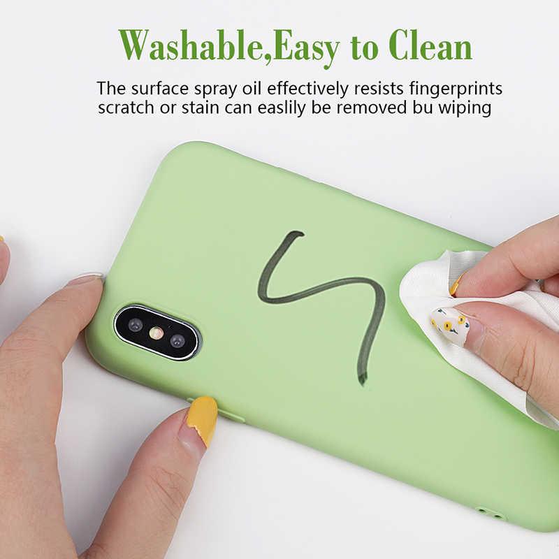 بسيطة بلون سيليكون الهاتف حقيبة لهاتف أي فون 11 XS ماكس X XR لطيف لون الحلوى لينة الغطاء الخلفي لفون 6 6s 7 8 Plus